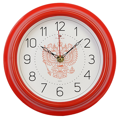 "581-667 Часы настенные круг, пластик, d21см, красный, ""Герб РФ"""