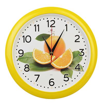 "581-669 Часы настенные круг, пластик, d29см, желтый, ""Апельсин"""