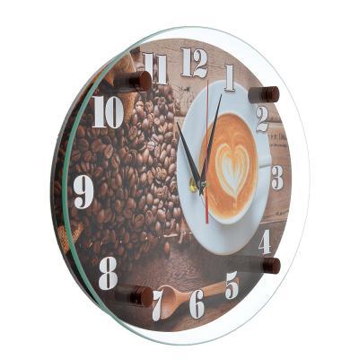 """581-676 Часы настенные, стекло, 35х25см, """"Чашечка любимого кофе"""""""
