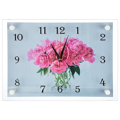 """581-677 Часы настенные, стекло, 35х25см, """"Пионы и сирень в вазе"""""""