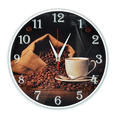 """581-679 Часы настенные, стекло, 30см, """"Чашечка любимого кофе"""""""