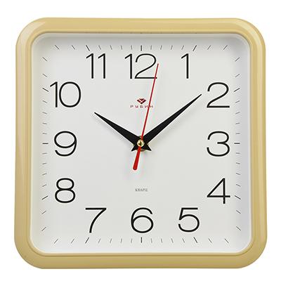 """581-683 Часы настенные квадратные, пластик, 22х22см, бежевый """"Классика"""""""