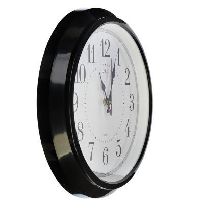 """581-687 Часы настенные круглые, пластик, d30см, черный """"Классика"""""""