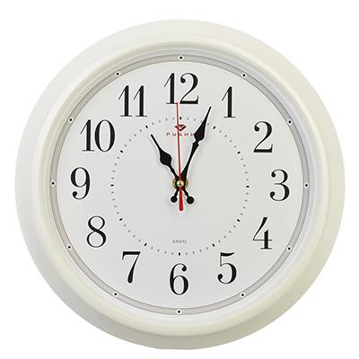 """581-690 Часы настенные круглые, пластик, d30см, белый, """"Классика"""""""