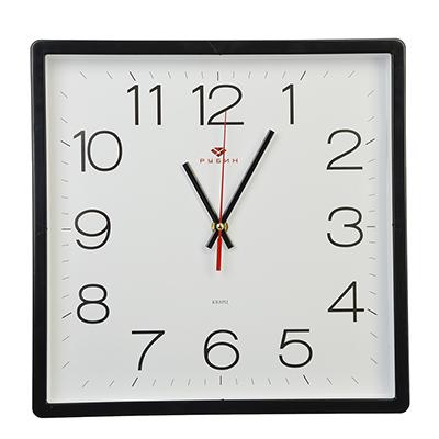 """581-691 Часы настенные квадратные, пластик, 30х30см, черный, """"Классика"""""""