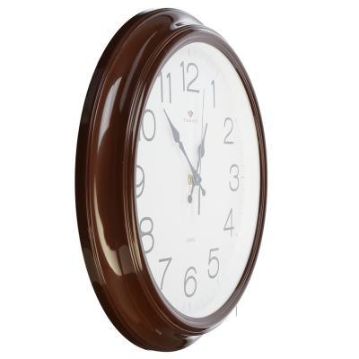 """581-695 Часы настенные круглые, пластик, d35см, коричневый, """"Классика"""""""