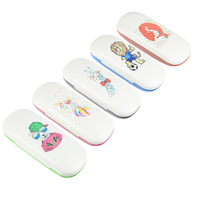 339-039 Футляр для детских коррекционных очков, пластик АБС, 16х6см, 5 дизайнов, ЧОК18-7