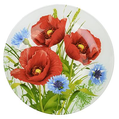 830-532 Маковое цветение Тарелка подстановочная стекло 254мм, S3010