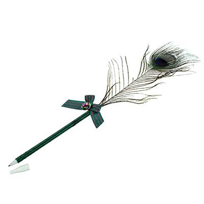 """627-008 Шариковая ручка со стразой и бантом, пластик, с подвесом, LA DECOR """"Павлинье перо"""""""