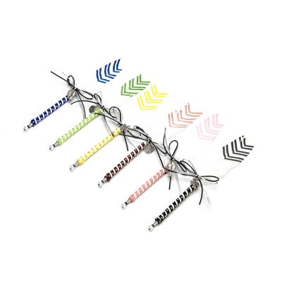 """627-009 LADECOR Ручка шариковая """"Перо со стрелками"""", с бантом и подвеской, пластик, с подвесом, 6 цветов"""
