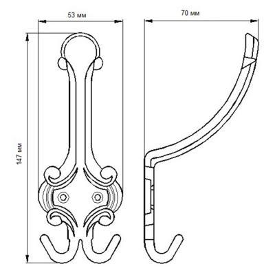 623-445 Крючок К2 (3-х рожковый) антик медь