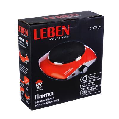 288-013 Плитка одноконфорочная LEBEN 1500 Вт, диск d.18,7 см, цветная