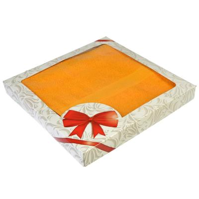 """489-135 Полотенце для лица махровое в подарочной упаковке, 50х90см, оранжевое Spany Home """"Grace"""""""