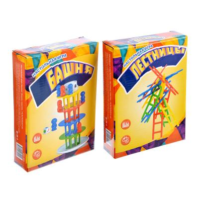 897-005 Настольная игра Баланс: Лестницы/Башня, пластик, 14,4х19,5х3,4см, 2 дизайна