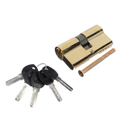 610-050 Сердцевина замка/ Цилиндровый механизм (сталь/цинк) 60мм(30+30), кл-кл, 5кл (перфо), золото, блистер