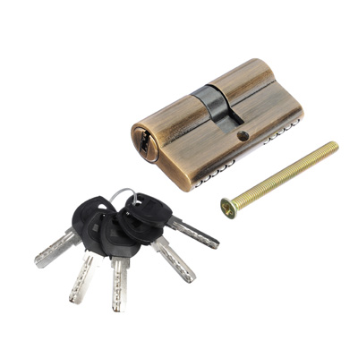 610-052 Сердцевина замка/ Цилиндровый механизм (сталь/цинк) 60мм(30+30), кл-кл, 5кл (перфо), бронза, блистер