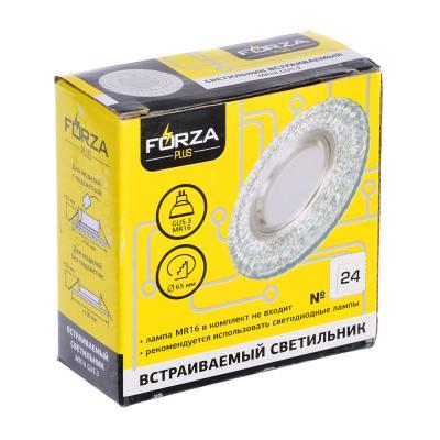 417-077 FORZA Светильник встраиваемый, № 24 лампа MR16, цоколь GU 5.3, стекло d90мм