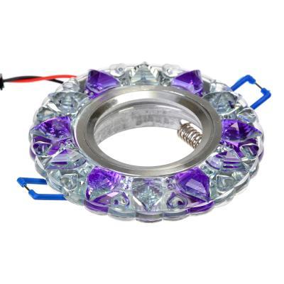 417-078 FORZA Светильник встраиваемый, № 25 лампа MR16, цоколь GU 5.3, стекло с подсветкой d90мм