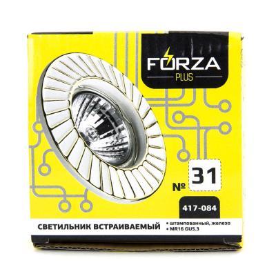 417-084 FORZA Светильник встраиваемый штампованный, № 31 лампа MR16, цоколь GU 5.3, d 90x22мм, железо