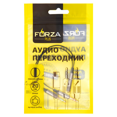 901-081 FORZA Аудио переходник 3,5 мм mini Jack М - 2х3.5 мм F, 20см