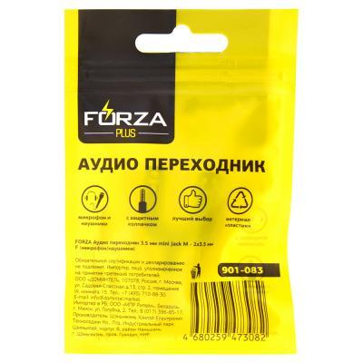 901-083 FORZA Аудио переходник 3.5 мм mini Jack М - 2х3.5 мм F (микрофон/наушники)