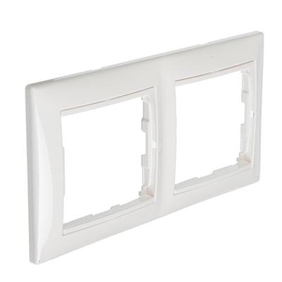 904-139 FORZA Элит Рамка двухместная горизонтальная, пластик ABS, белый