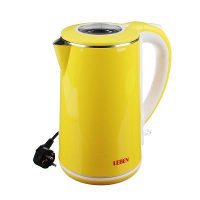 291-036 LEBEN Чайник электрический 2,0л, 1500Вт, скрытый нагр.элемент, автооткл., нерж сталь+пластик