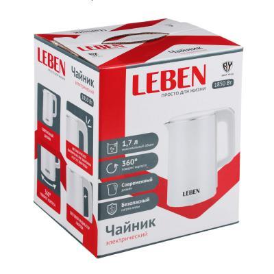 291-040 LEBEN Чайник электрический 1,7л, 1850Вт, нерж сталь, терморисунок 1