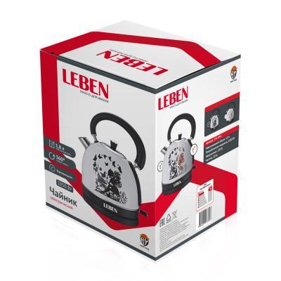 291-041 LEBEN Чайник электрический 1,8л, 1850Вт, нерж сталь, терморисунок 2