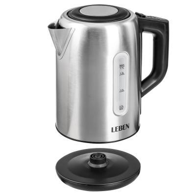291-045 LEBEN Чайник электрический 1,7л, 1850Вт, скрытый нагр.элемент, поддержание темп., сталь, T-9013C