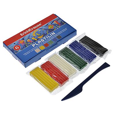 239-008 Erich Krause Пластилин 6 цветов 108 грамм в картонной упаковке со стеком, 36900