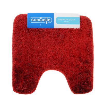 599-054 SonWelle Коврик для туалета МЯГКИЙ 50х50см микрофибра бордо