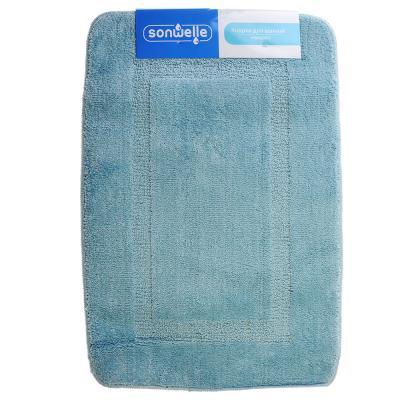 599-057 SonWelle Коврик для ванной КВАДРАТ 50х75см микрофибра голубой