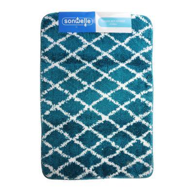 599-058 SonWelle Коврик для ванной РОМБЫ 50х75см микрофибра синий
