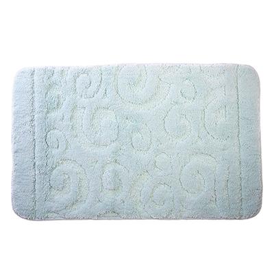 599-069 SonWelle Коврик для ванной ЗАВИТОК 50х80см микрофибра голубой