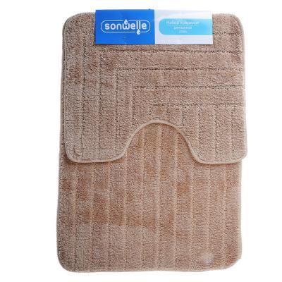 599-070 SonWelle Набор ковриков для ванной ТОП 50х70см + 40х50см микрофибра беж