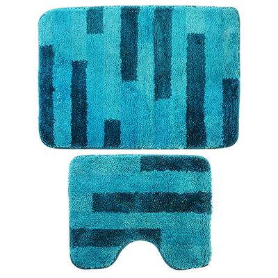 599-075 SonWelle Набор ковров для ванной ПОЛОСКА 50х75см + 40х50см микрофибра синий