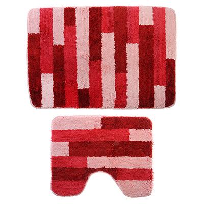 599-076 SonWelle Набор ковров для ванной ПОЛОСКА 50х75см + 40х50см микрофибра розовый