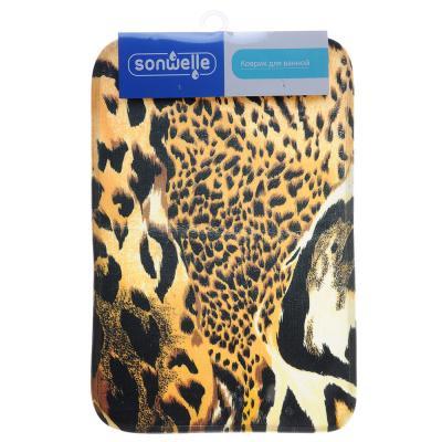 599-081 SonWelle Коврик для ванной САФАРИ флис, принт, губка, 0,8см, 40x60см