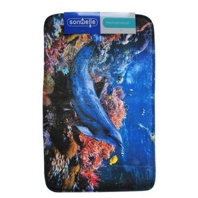 599-083 SonWelle Коврик для ванной ДЕЛЬФИНЫ флис, принт, губка, 0,4см, 50x80см