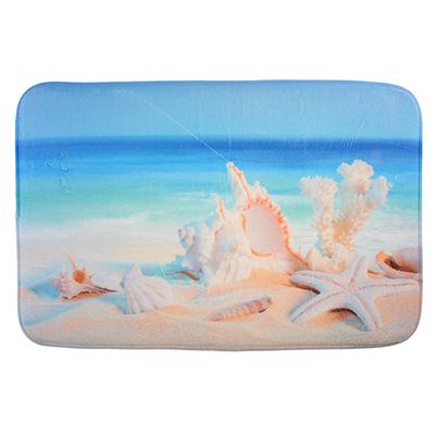 599-085 SonWelle Коврик для ванной ПЛЯЖ флис, принт, губка, 1,2см, 50x80см