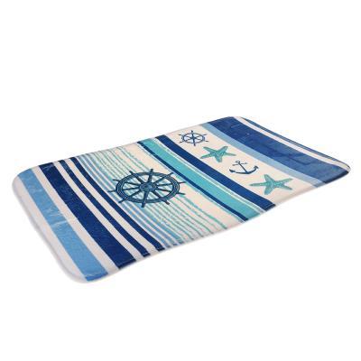 599-087 SonWelle Коврик для ванной МОРСКОЙ флис, принт, губка, 1,2см, 50x80см