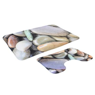 599-090 SonWelle Набор ковриков для ванной КАМУШКИ флис, принт, губка, 1,2см, 50x80см +50x40см
