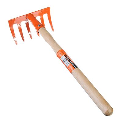 639-038 ЕРМАК Грабли прямые 6 зубьев 32см с деревянной ручкой