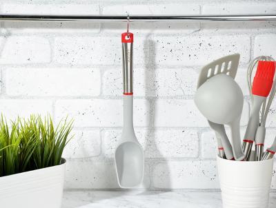 881-187 Ложка кухонная жаропрочный нейлон, ручка нержавеющая сталь/пластик, Премьер SATOSHI