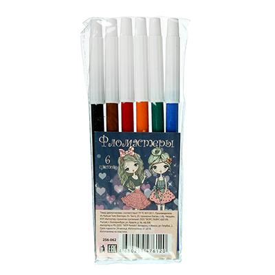 256-062 Набор фломастеров, 6 цветов, с белым колпачком, ШКОЛЬНИЦЫ