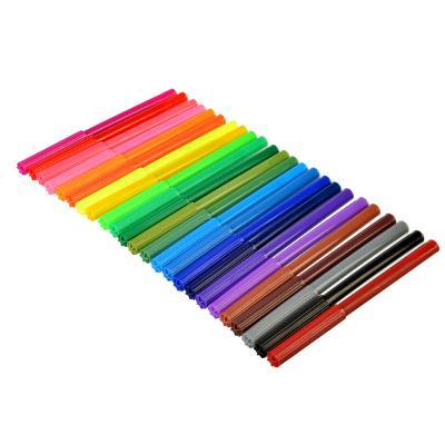 256-067 ШКОЛЬНИЦЫ Фломастеры 24 цвета с цветным вентилируемым колпачком, 13,6х8,5мм, в ПВХ пенале с подвесом
