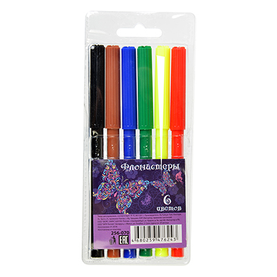 256-070 Набор фломастеров, 6 цветов, с цветным колпачком, КРЫЛАТЫЕ ЦВЕТЫ ФЛЮО