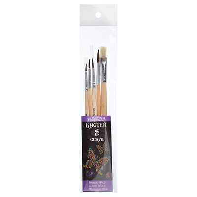 229-004 Кисти для рисования набор 5 шт: белка №1,3 волос пони № 2,4, щетина №6, КРЫЛАТЫЕ ЦВЕТЫ ФЛЮО