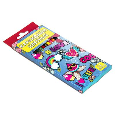 228-033 Цветные карандаши, 12 цветов, заточенные, ДЖИНС